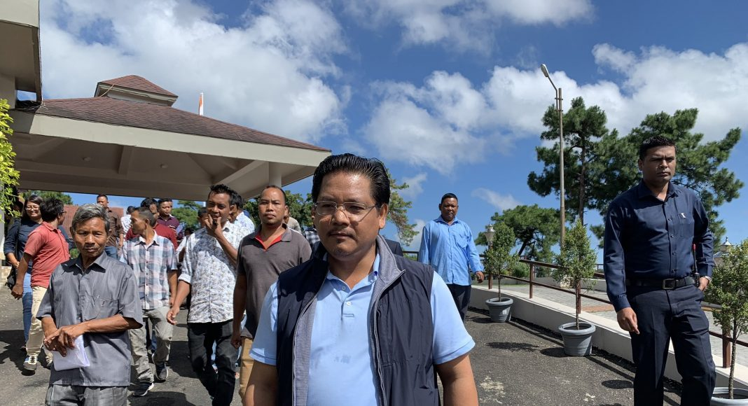 CM Conrad Sangma walking to his office as a part of the Fit India Movement. Photo Courtesy: @SangmaConrad